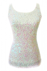 Womens Slimming Crew Neck Sleeveless Sequined Tank Top White