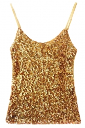 Gold Slimming Ladies Sleeveless Strap Sequined Camisole Top