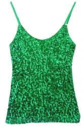 Green Slimming Ladies Sleeveless Strap Sequined Camisole Top