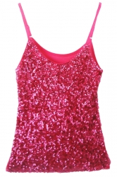 Rose Red Slimming Ladies Sleeveless Strap Sequined Camisole Top