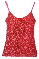 Red Slimming Ladies Sleeveless Strap Sequined Camisole Top