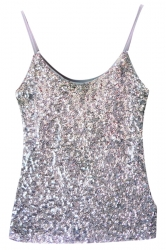 Silvery Slimming Ladies Sleeveless Strap Sequined Camisole Top