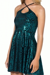 Green Cross Bandage Foil Print Sexy Womens Dress