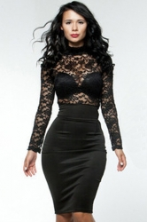 Black Lace Patchwork Sheer Sexy Ladies Bodycon Dress