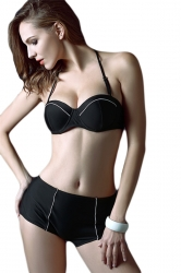 Black Halter Retro Swimsuit Top & High Waisted Bikini Bottom