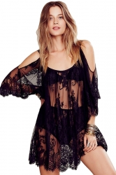 Black Sheer String Lace Hollow Out Sexy Ladies Beach Dress