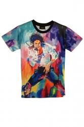 Purple Michael Jackson Singing Printed Vintage Womens T Shirt