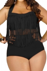 Womens Plus Size Sexy Fringe Top&High Waist Bottom Bathing Suit Black