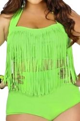 Womens Plus Size Sexy Fringe Top&High Waist Bottom Bathing Suit Green