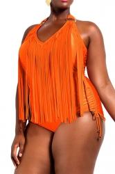 Plus Size Orange Sexy Plain Tassel Oversized Monokinis
