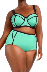 Plus Size Green Sexy Swimwear Top&High Waist Swimwear Bottom