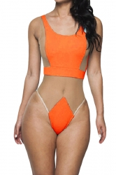 Orange Ladies Sexy See Through Mesh Monokini