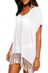 White Fancy Womens Fashion Tassel Beach Dress