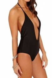 Black Halter Deep V Neck Sexy Backless Womens Monokini