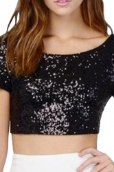 Black Sequined Backless Sexy Chic Ladies Crop Top