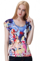 Blue Crew Neck Disney Cartoon Printed Womens Tee Shirt