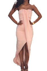 Pink Sexy High Low Backless Clubwear Dress