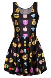 Black Emoji Printed Sexy Fashion Ladies Skater Dress