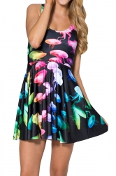 Black Gradient Jellyfish Printed Sexy Fashion Ladies Skater Dress