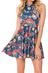 Navy Blue Christmas Printed Sexy Fashion Ladies Skater Dress