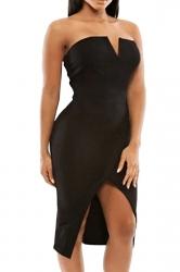 Black Slit Sexy Chic Womens Tube Dress