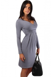 Gary Pleated V Neck Charming Womens Long Sleeve Dress