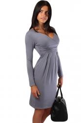 Gary Pleated V Neck Charming Womens Long Sleeve Dress