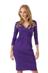 Purple Pleated V Neck Charming Womens Long Sleeve Dress