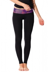 Black Ladies Galaxy Printed Tight Sport Leggings