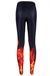 Black Fire Printed Slimming Sexy Womens Leggings