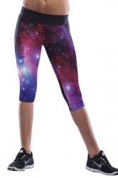 Black Galaxy Printed Sexy Chic Womens Cropped Leggings
