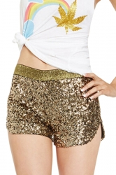 Gold Sequined Sexy Charming Womens Mini Short