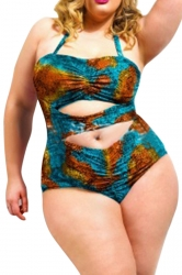 Green Plus Size Halter Cut Out Sexy Chic Womens Monokini