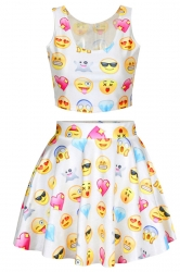 White Chic Emoji Printed Skater Skirt Suits