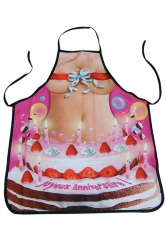 Pink Cute Sexy Navel Printed Lovers Apron