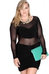 Black Ladies Plus Size See Through Patchwork Clubwear Dress