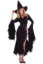 Black Slit Sexy Charming Womens Halloween Witch Costume
