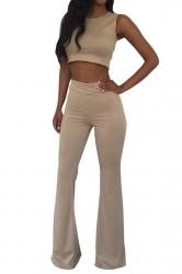 Khaki Crop Top Bell Bottom Ladies Sleeveless Pants Suit
