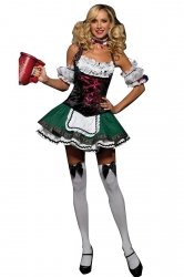 Green Sexy Ladies German Beer Girl Maid Costume