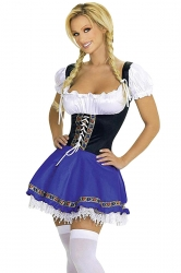 Blue Ladies Sweet Lace Beer Maid Costume