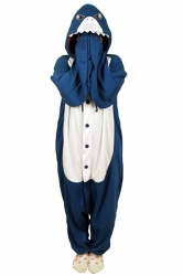 Blue Cute Shark Flannel Womens Jumpsuit Pajamas Costume