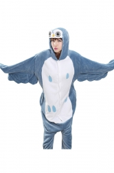 Blue Cute Bird Flannel Womens Jumpsuit Pajamas Costume