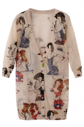 Khaki Ladies Beauties Printed Linen Sweater Cardigan