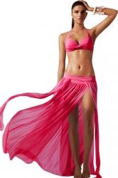 Rose Red Ladies See Through High Slit Beach Dress