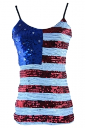 Red Ladies Sequined Mesh American Flag Printed Tank Top