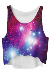 Blue Gradient Galaxy Printed High Low Fashion Ladies Crop Top