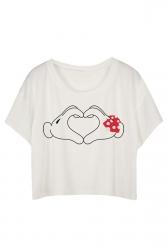 White Loose Hands Printed Ladies T-shirt