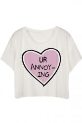 White Heart Printed Ladies T-shirt