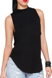Black Plain Backless Sleeveless Sexy Womens Halter Top
