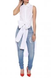 Ladies Bow Tail Sleeveless Chic Blouse White